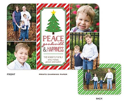 Peace, Goodwill and Happiness Collage Holiday Flat Photo Card