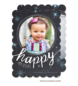Happy Holidays Snowflakes Holiday Flat Photo Card