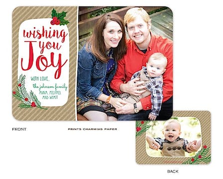 Kraft Wishing you Joy Holiday Flat Photo Card