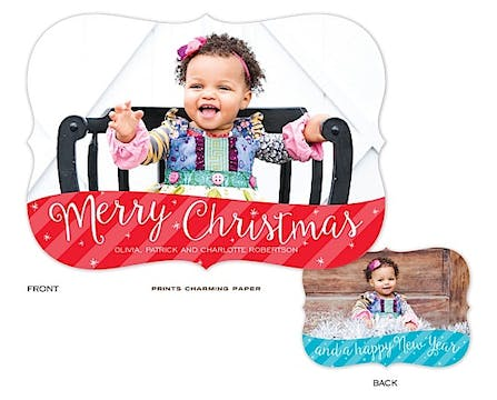 Merry Christmas and Happy New Year Holiday Flat Photo Card