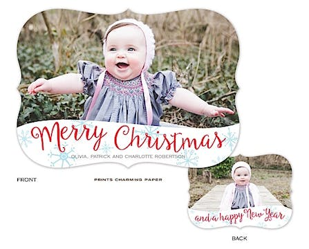 Merry Christmas Snowflakes Holiday Flat Photo Card