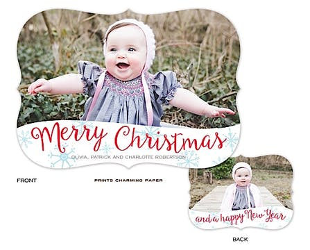 Merry Christmas Snowflakes Holiday Flat Photo Card
