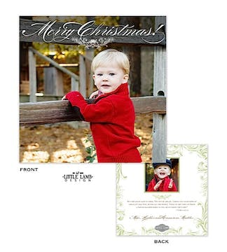 Ornate Square Holiday Flat Photo Card