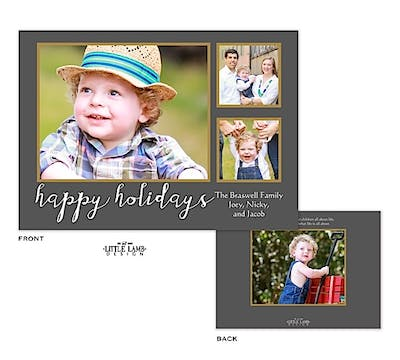 Gray and Gold Happy Holiday Flat Photo Card