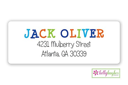 Funky Blue Letters Return Address Sticker
