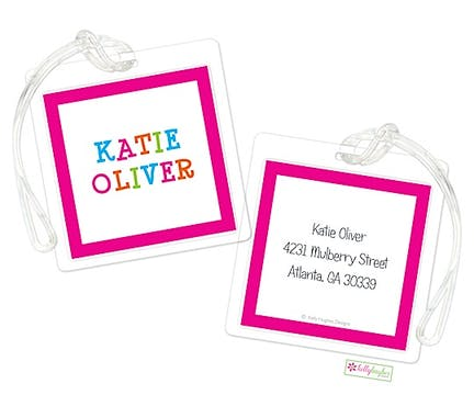 Funky Pink Letters ID Tag