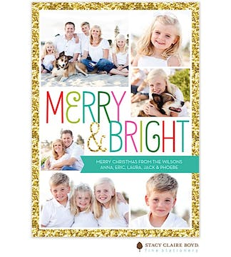 Bright Sparkle Holiday Flat Photo Card