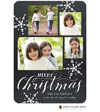 Chalkboard Snowflakes Holiday Flat Photo Card