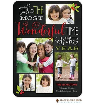 Wonderful Time Holiday Flat Photo Card