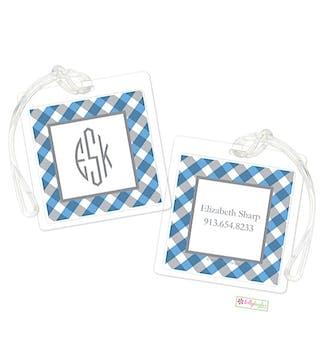 Blue Gingham ID Tag