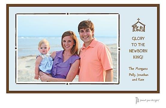 Vintage Frame Blue & Chocolate Holiday Print & Apply Flat Photo Card