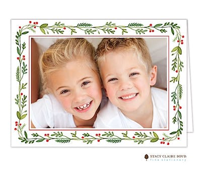 Christmas Greenery Holiday Folded Photo Card
