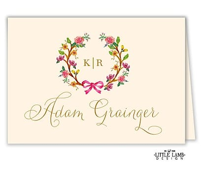 Flowery Wreath Folded Place Card