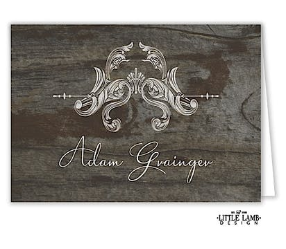 Ornate Wreath On Wood Folded Place Card