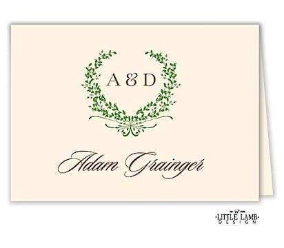 Green Wreath Folded Place Card