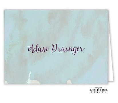 Watercolor Background Folded Place Card