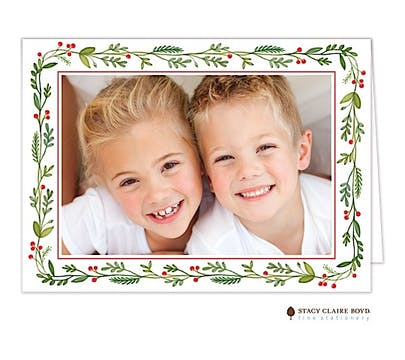 Christmas Greenery Holiday Print & Apply Folded Photo Card