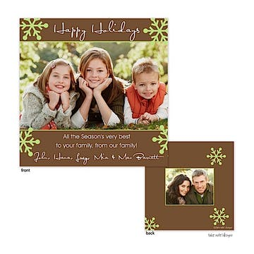 Brown with Green Snowflakes Square Flat Photo Holiday Card