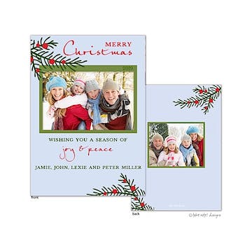 Winter Berry Branch Vertical Flat Photo Holiday Card