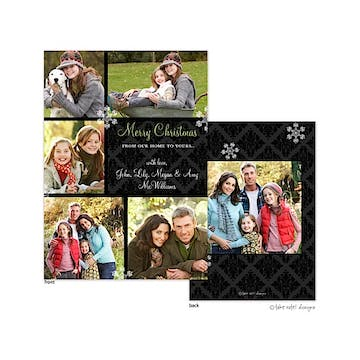 Black Damask Elegance Flat Photo Holiday Card