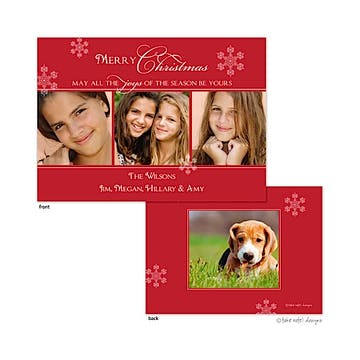 Red Snowflake Elegance Flat Photo Holiday Card