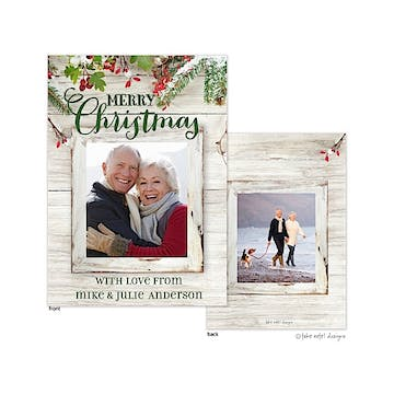 Rustic Evergreen Boughs Frame Flat Photo Holiday Card
