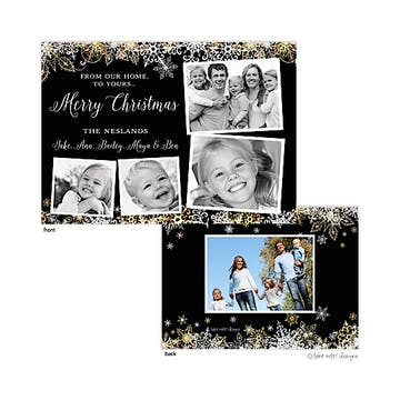 Elegant Snowflake Scatter Black Flat Photo Holiday Card