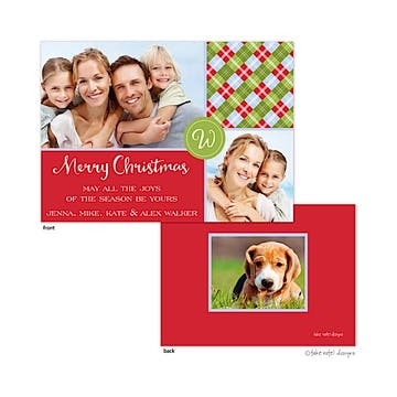 Argyle Corners Monogram Flat Photo Holiday Card