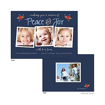peace and joy christmas poinsettias blue 3 Flat Photo Flat Photo Holiday Card