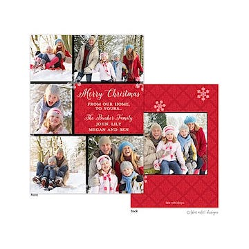 Red Damask Snowflake Multi Flat Photo Holiday Card