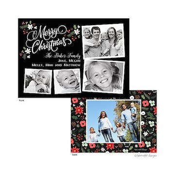Christmas Floral Berry Bunch Layout Flat Photo Holiday Card