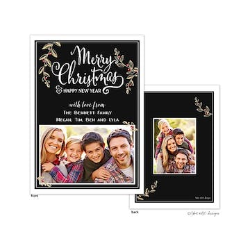 Golden Vines with Berries Flat Photo Holiday Card