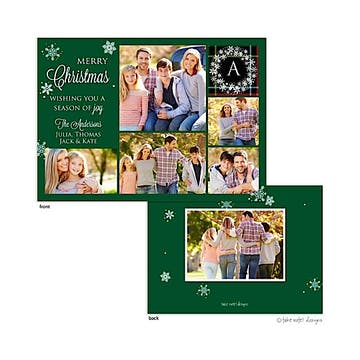 Green Monogram Plaid Snowflake Flat Photo Holiday Card