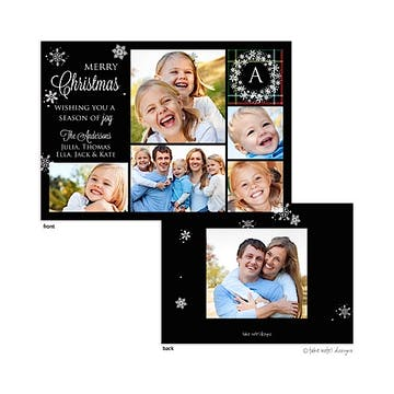 Classic Monogram Plaid Snowflake Flat Photo Holiday Card