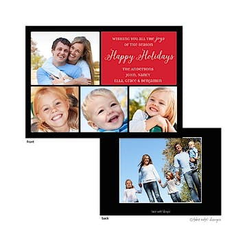 Classic Christmas Squares Red Flat Photo Holiday Card