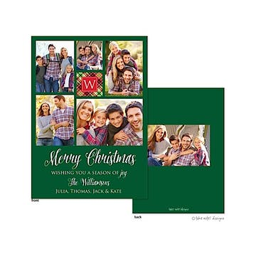 Green Monogram Classic Flat Photo Holiday Card
