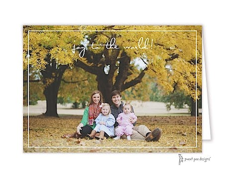 Thin White Border Folded Photo Holiday Card