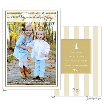 Merry And Happy Gold Flat Photo Holiday Card