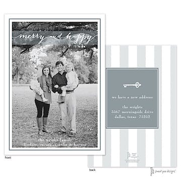 Merry And Happy Silver Flat Photo Holiday Card