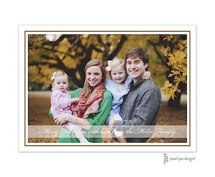 Simple Border Gold With Band Flat Photo Holiday Card