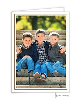 Vertical Simple Border Gold Folded Photo Holiday Card