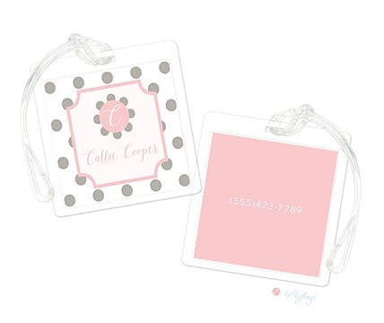 Dots Grey on Pink Luggage Tag