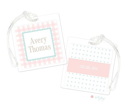 Ruffle Gingham Luggage Tag