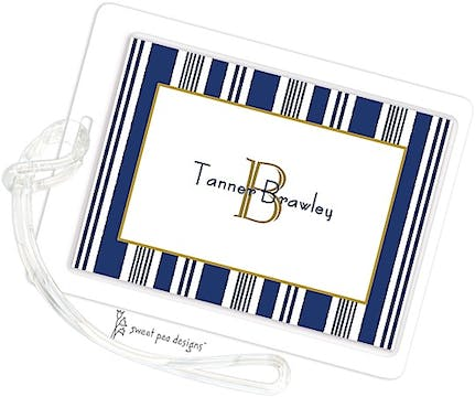Nautical Stripes Navy ID Tag