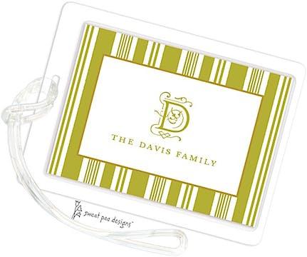 Nautical Stripes Olive ID Tag