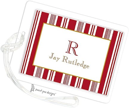 Nautical Stripes Red ID Tag