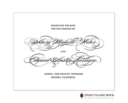 Perfectly Scripted Save The Date Card