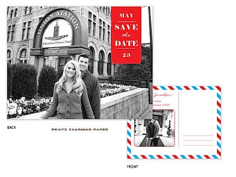 Blue & Red Postcard Save The Date Digital Photo Invitation