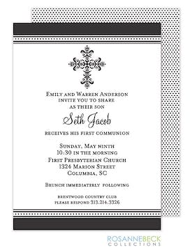 Victorian Cross Invitation - Edge Border -Black
