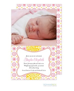 Bella - Pink Girl Photo Birth Announcement